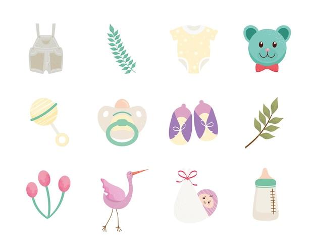 Bundel van twaalf baby shower viering set pictogrammen illustratie