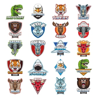 Bundel van twintig wilde dieren hoofden emblemen illustratie