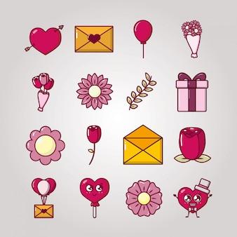 Bundel van valentijnsdag set pictogrammen