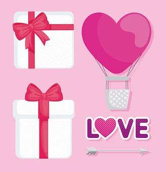 Bundel van valentijnsdaggeschenken en ballonlucht heet met hartvorm