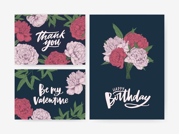 Bundel van verjaardag en st. valentijnsdag wenskaart en bedankbriefje sjablonen versierd met prachtige bloeiende pioenrozen