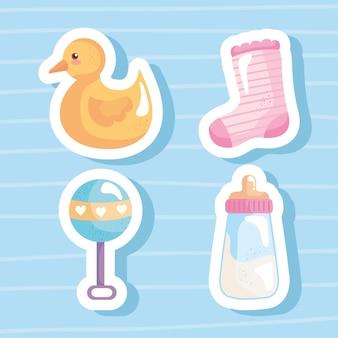 Bundel van vier baby shower iconen vector illustratie ontwerp