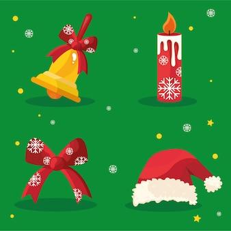 Bundel van vier gelukkige vrolijke kerstmispictogrammen op rode achtergrond
