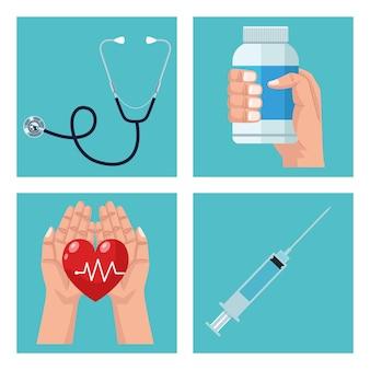 Bundel van vier geplaatste medische elementen