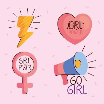 Bundel van vier girl power letters en pictogrammen illustratie
