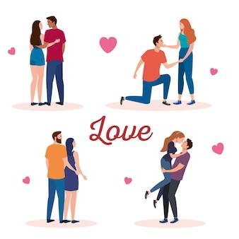 Bundel van vier koppels liefhebbers karakters met hartjes en letters
