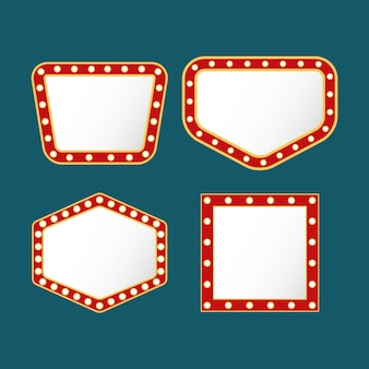 Bundel van vier retro lichten cijfers frames op blauwe achtergrond
