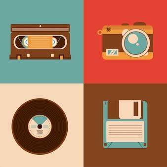 Bundel van vier retro vastgestelde pictogrammen