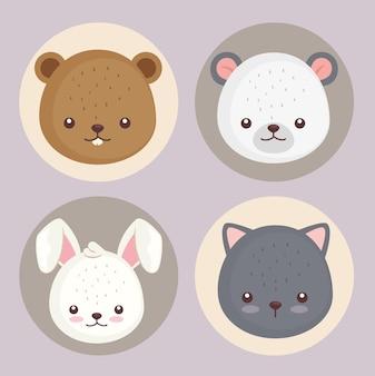 Bundel van vier schattige dieren hoofd decorontwerp pictogrammen afbeelding