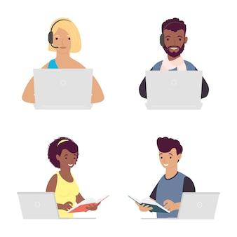 Bundel van vier studenten met online de illustratieontwerp van het laptopsonderwijs