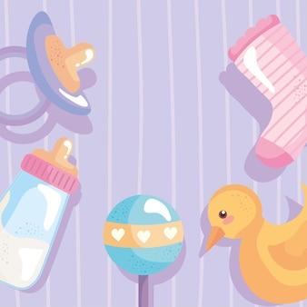 Bundel van vijf babydouche iconen rond vector illustratie ontwerp