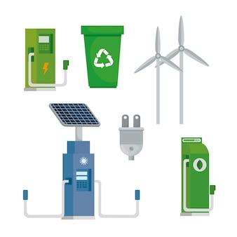 Bundel van vijf energie-ecologie decorontwerp pictogrammen