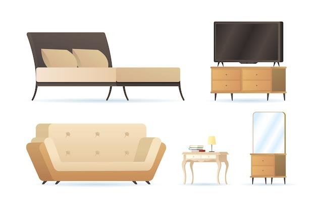 Bundel van vijf forniture huis decorontwerp pictogrammen afbeelding Premium Vector