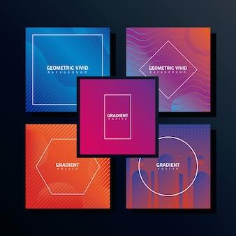 Bundel van vijf geometrische levendige achtergronden