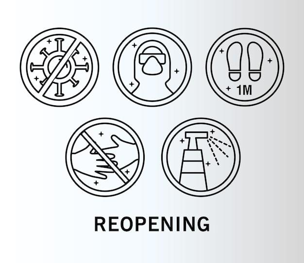 Bundel van vijf heropenende labels met lijnstijlpictogrammen en belettering