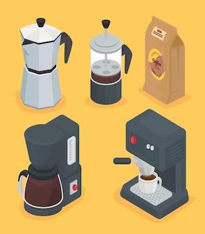 Bundel van vijf koffiedranken decorontwerp pictogrammen afbeelding