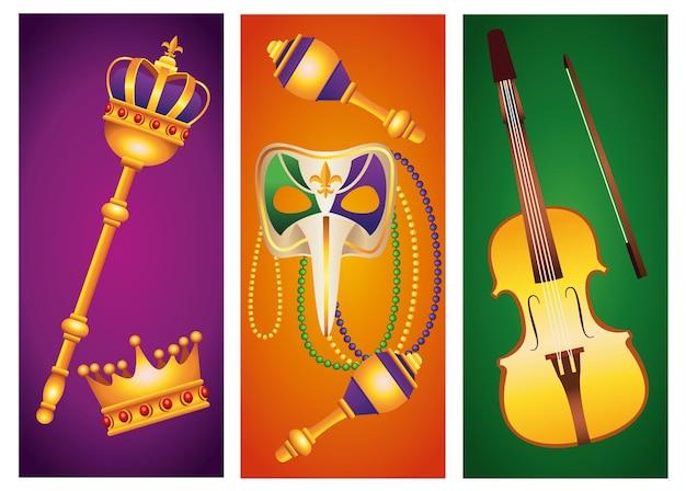 Bundel van vijf mardi gras carnaval viering set pictogrammen illustratie