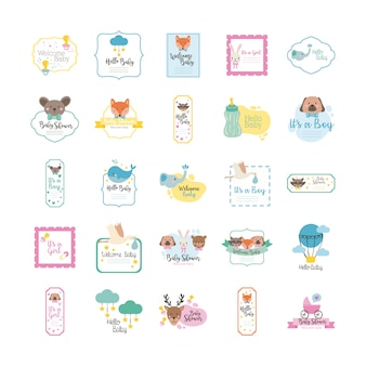 Bundel van vijfentwintig baby shower set collectie iconen