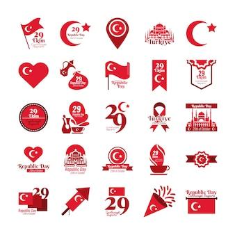 Bundel van vijfentwintig instellen cumhuriyet bayrami vlakke stijl iconen vector illustratie ontwerp