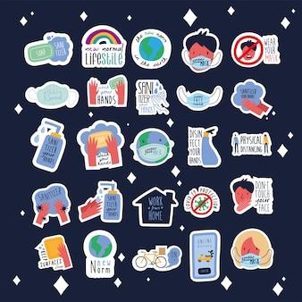 Bundel van vijfentwintig nieuwe norm beletteringen campagne decorontwerp vlakke stijl iconen illustratie