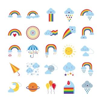Bundel van vijfentwintig regenbogen en kawaiikarakters