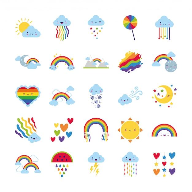 Bundel van vijfentwintig regenbogen en kawaiikarakterspictogrammen
