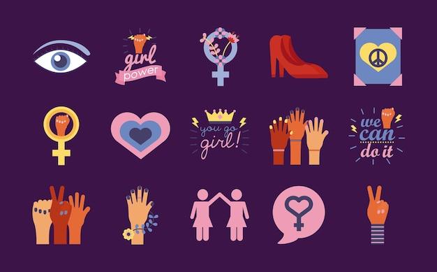 Bundel van vijftien feminisme vlakke stijl iconen vector illustratie ontwerp