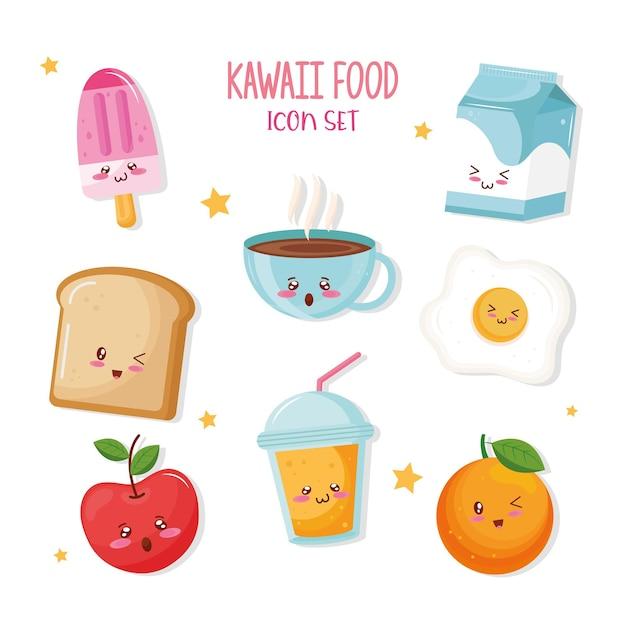 Bundel van voedsel kawaiikarakters en belettering