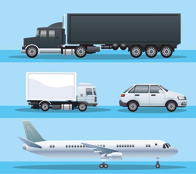 Bundel van voertuigen vervoeren pictogrammen