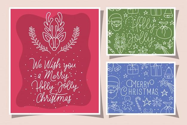 Bundel van vrolijke kerstkaarten met kalligrafie en pictogrammen