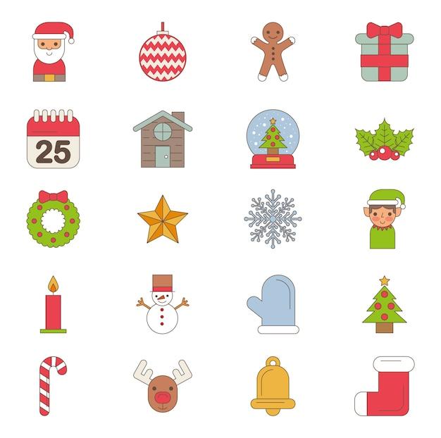 Bundel van vrolijke kerstmis vastgestelde pictogrammen