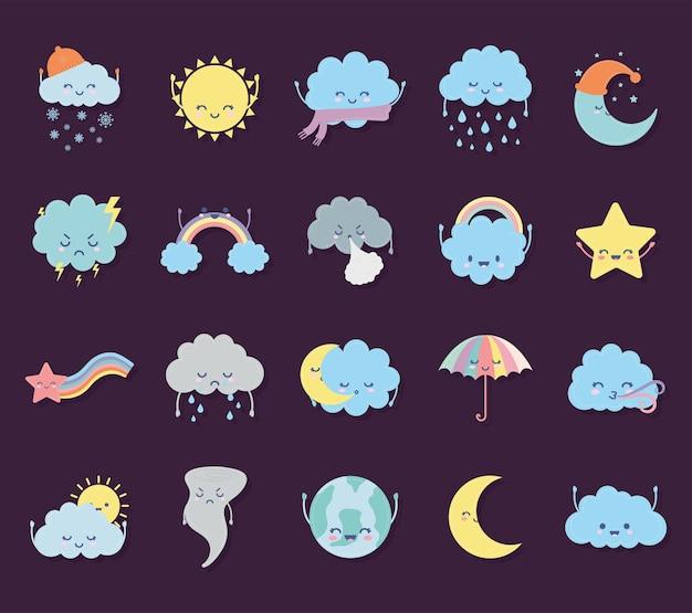 Bundel van weerpictogrammen op een paars illustratieontwerp