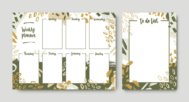 Bundel van wekelijkse planner en takenlijstsjablonen met frame versierd met groene penseelstreken