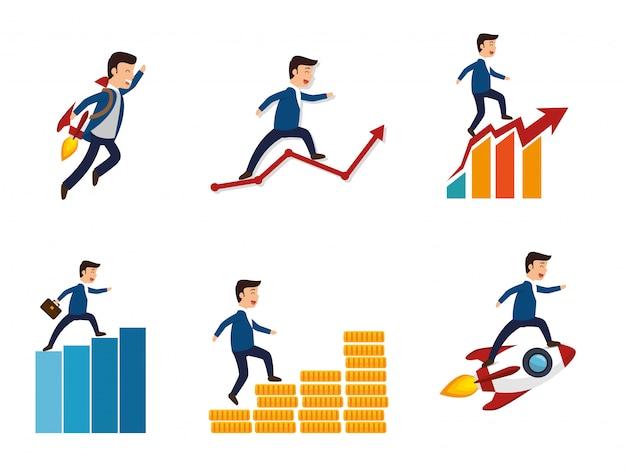 Bundel van zakenman met succes