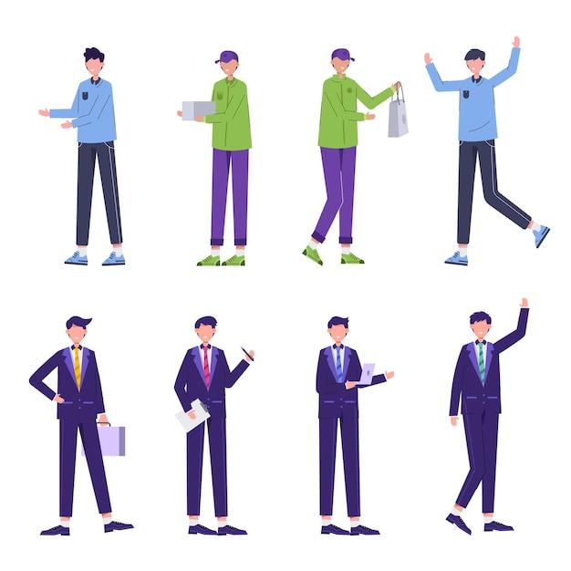 Bundel van zakenman-tekenset van verschillende beroepen, levensstijlen en uitdrukkingen van elk personage in verschillende gebaren, zakenman, bezorgpersoneel, klant