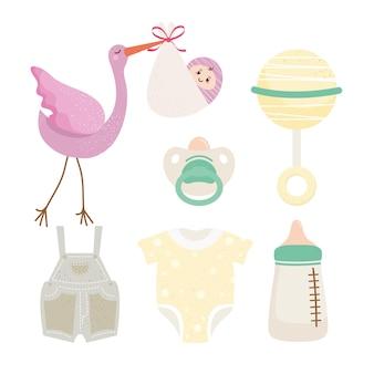 Bundel van zes baby shower viering set pictogrammen illustratie