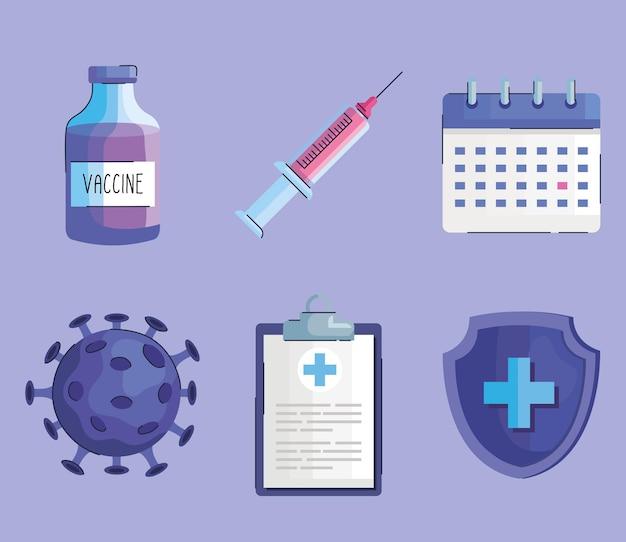 Bundel van zes flesjes vaccinflesje en covid19 iconen set