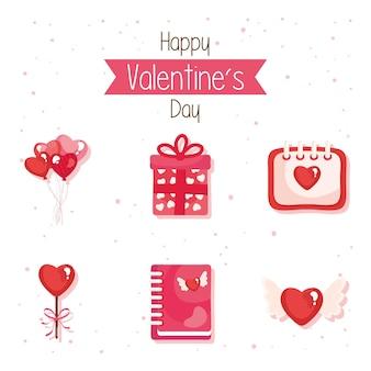 Bundel van zes gelukkige valentijnsdag set pictogrammen