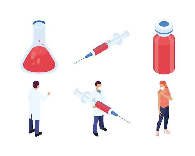 Bundel van zes isometrische vaccin decorontwerp pictogrammen afbeelding