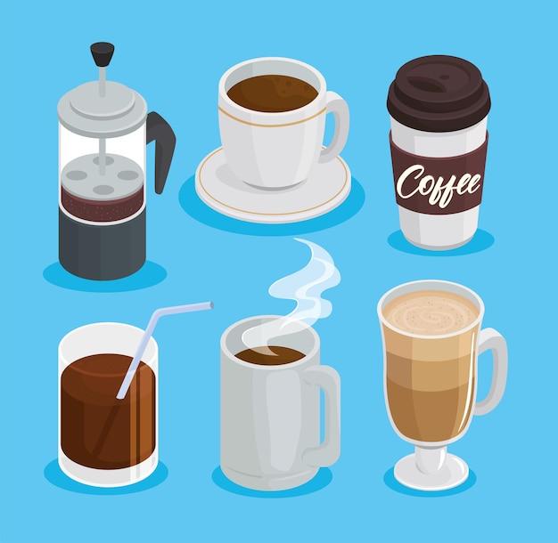 Bundel van zes koffiedranken decorontwerp pictogrammen afbeelding