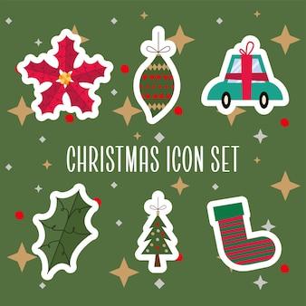 Bundel van zes vrolijk vector de illustratieontwerp van kerstmispictogrammen