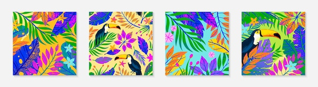 Bundel van zomer vectorillustraties en patroon. tropische bladeren, bloemen en toekans. veelkleurige planten met hand getrokken textuur. exotische achtergronden perfect voor prints, banners, uitnodigingen, sociale media