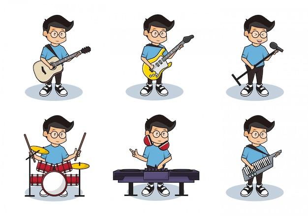 Bundel vastgestelde illustratie van leuke jongens die muziek met volledig bandconcept spelen.