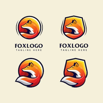 Bundel vos moderne logo ontwerpsjabloon moderne sport