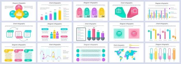 Bundel zakelijke en financiële infographics presentatiedia's sjabloon