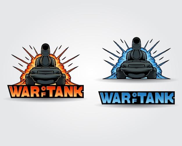 Bundels mascotte logo oorlog van tank met explosie