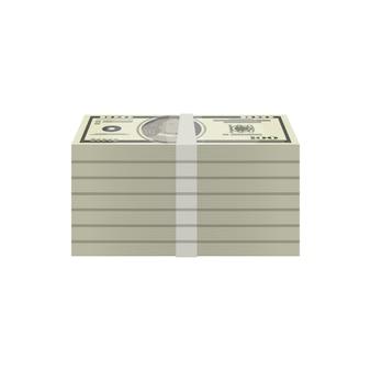 Bundels van het isometrische pictogram van dollarbankbiljetten