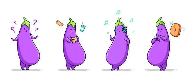 Bundelset emoticon en pictogram gebaar schattig karakter groenten van paarse aubergine
