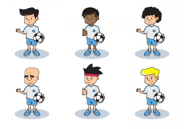 Bundelset illustratie van schattig voetbalteam karakter