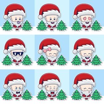 Bundelset illustratie van schattige baby kerstman met verschillende uitdrukkingen